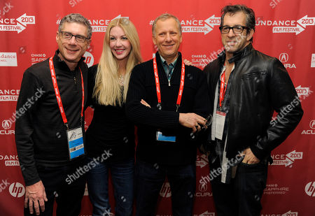 "Jeffrey Friedman, far left, and Rob Epstein, second from right, co-directors and co-producers of HBO Documentary Films' ""The Battle of amfAR,"" pose with amfAR Board of Trustees member Regan Hofmann, second from left, and the film's executive producer Kenneth Cole before a screening of the film at the 2013 Sundance Film Festival, in Park City, Utah"