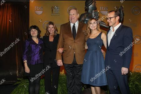 From left, SAG Foundation Executive Director Jill Seltzer, EIF President & CEO Lisa Paulsen, SAG-AFTRA President Ken Howard, SAG Awards Social Media Ambassador Sasha Alexander and actor Clark Gregg pose after announcing the nominees for the 20th Annual Screen Actors Guild Awards at the Pacific Design Center on in Los Angeles