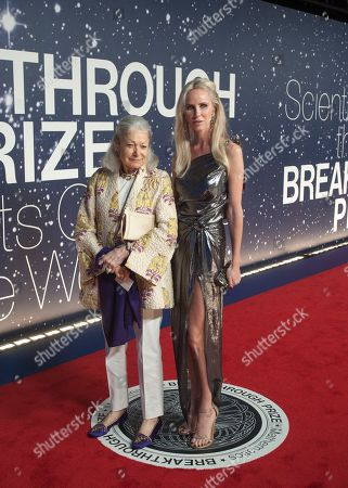 Stock Picture of Denise Hale and Vanessa Getty arrive at the 2nd Annual Breakthrough Prize Award Ceremony at the NASA Ames Research Center on in Mountain View, Calif