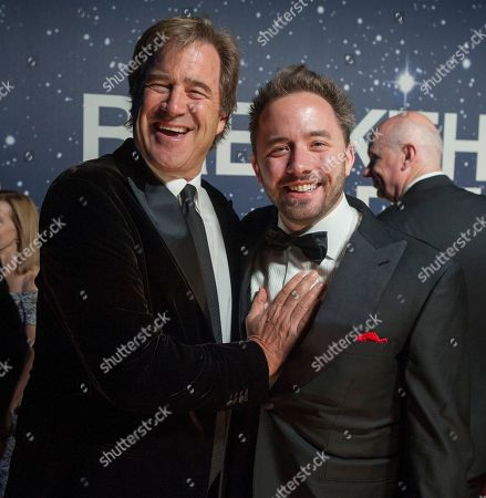 Bing Gordon, former Electronic Arts CCO and Dropbox founder Drew Houston arrive at the 2nd Annual Breakthrough Prize Award Ceremony at the NASA Ames Research Center on in Mountain View, Calif