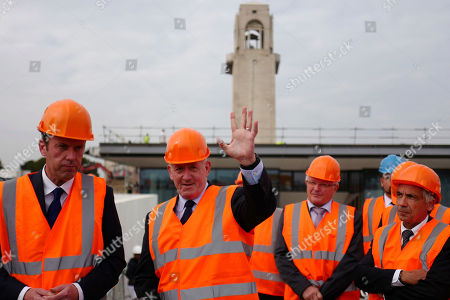 Australian Governor Sir Peter Cosgrove, center, gestures during a visit to the Sir John Monash memorial Centre that will honor Australian soldiers involved in WW1, in Villers-Bretonneux, northern France