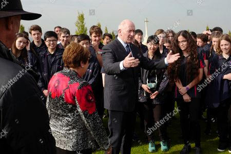 Australian Governor Sir Peter Cosgrove, center, visits the Sir John Monash memorial Centre that will honour Australian soldiers involved in WWI, in Villers-Bretonneux, northern France