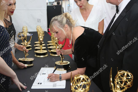 Sue Vertue attends the 68th Primetime Emmy Awards, at the Microsoft Theater in Los Angeles