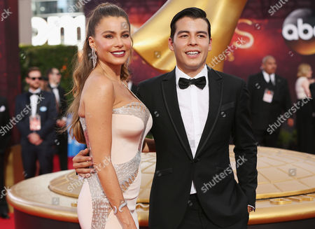 Sofia Vergara, left, and Manolo Vergara attend the 68th Primetime Emmy Awards, at the Microsoft Theater in Los Angeles