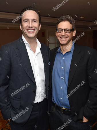 Stock Photo of Charlie Collier, president and general manager of AMC, left, and Jonathan Lisco, showrunner/executive producer/writer, pose backstage at AMC's winter TCA panel at the Langham Hotel, in Pasadena, Calif