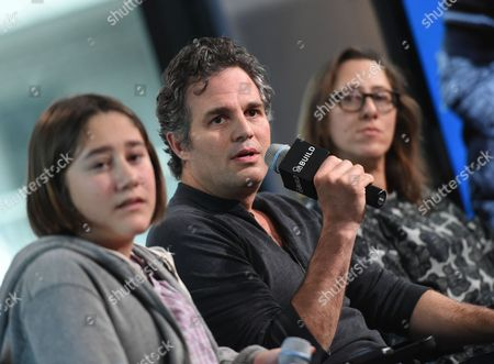 """Actress Imogene Wolodarsky, from left, actor Mark Ruffalo and director Maya Forbes participate in AOL's BUILD Speaker Series to discuss the new film, """"Infinitely Polar Bear,"""" at AOL Studios, in New York"""