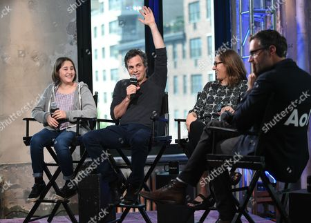 """Actress Imogene Wolodarsky, from left, actor Mark Ruffalo and director Maya Forbes participate in AOL's BUILD Speaker Series to discuss the new film, """"Infinitely Polar Bear"""" with moderator Ricky Camilleri, at AOL Studios, in New York"""