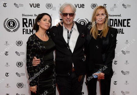 Sadie Frost, Elliot Grove and Emma Comley arrive for the Raindance Film festival Opening Gala of I Origins at a central London cinema, London