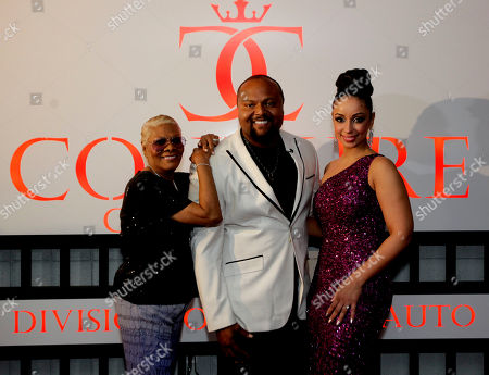 From left, Dionne Warwick, Damon Elliott, and Mya are seen at a Celebrity Charity Event at Couture Customs, on in Scottsdale, Ariz. NFL players announced a Players Authority BFI and DRE Ent Three Day Event to take place during Super Bowl 2015