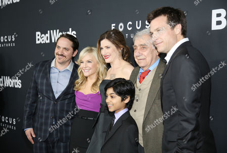 "From left, Ben Falcone, Rachael Harris, Kathryn Hahn, Rohan Chand, Philip Baker Hall, and Jason Bateman arrive at LA Premiere of ""Bad Words"" on in Los Angeles, Calif"