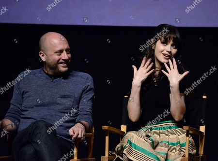"""Actress Zooey Deschanel, right, and executive producer Dave Finkel at the Academy's screening and Q and A of the television series """"New Girl"""" at the Leonard H. Goldstein Theatre on in Los Angeles"""