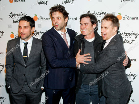 """Michael Godere, from left, Ivan Martin, Billy Crudup and Sam Rockwell attend the premiere of """"Loitering With Intent"""" at the SVA Theater, in New York"""