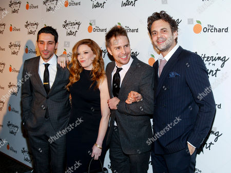 """Michael Godere, from left, Natasha Lyonne, Sam Rockwell and Ivan Martin attend the premiere of """"Loitering With Intent"""" at the SVA Theater, in New York"""