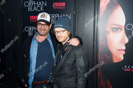 "John Fawcett, left, and Graeme Manson attend the premiere of BBC America's ""Orphan Black"" on in New York"