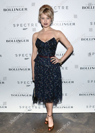 """Model Gia Genevieve attends a pre-release special screening of """"Spectre"""", hosted by Champagne Bollinger with The Cinema Society, at the IFC Center, in New York"""