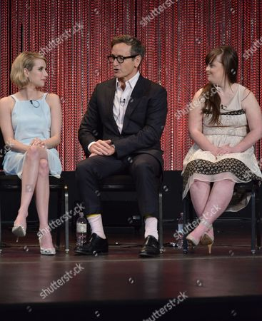 "Emma Roberts and from left, Dante Di Loreto and Jamie Brewer speak at a panel at PALEYFEST 2014 - ""American Horror Story: Coven"" at the Kodak Theatre, in Los Angeles"