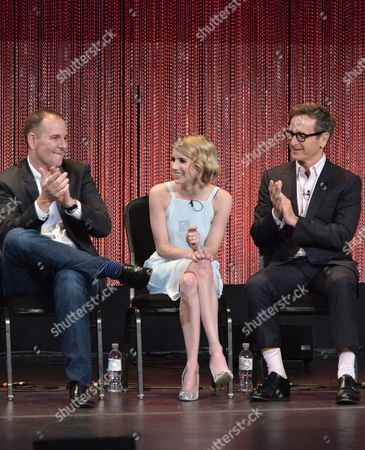 "Tim Minear and from left, Emma Roberts and Dante Di Loreto speak at a panel at PALEYFEST 2014 - ""American Horror Story: Coven"" at the Kodak Theatre, in Los Angeles"