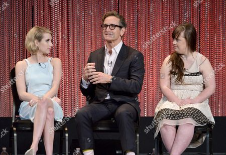 "Emma Roberts and from left, Dante Di Loreto and Jamie Brewer participate in a panel at PALEYFEST 2014 - ""American Horror Story: Coven"" at the Kodak Theatre, in Los Angeles"