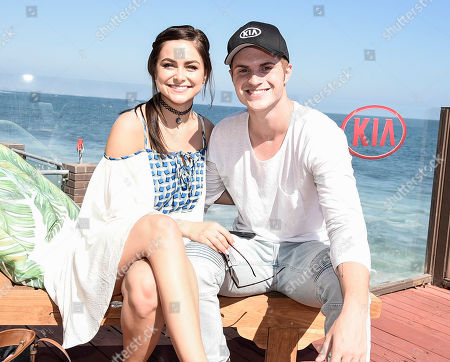 Actor Jake Austin Walker, right, and actress Gianna DiDonato at the Skylar Grey Performance at The Kia Beach House Presented by Eppa SupraFruta Sangria on in Malibu, Calif