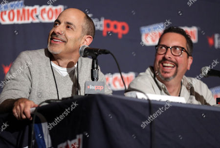 "Stock Picture of David S. Goyer, left, and John Shiban, from ""Da Vinci's Demons"", are seen during the STARZ panel at New York Comic Con on in New York"