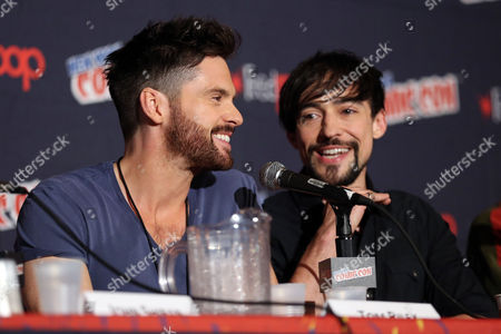 "Tom Riley, left, and Blake Ritson, from ""Da Vinci's Demons"", are seen during the STARZ panel at New York Comic Con on in New York"