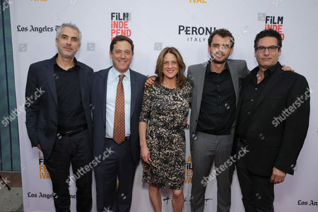 "Producer Alfonso Cuaron, Adam Fogelson, Chairman, Motion Picture Group at STX Entertainment, Cathy Schulman, President of Production at STX Entertainment, Director/Writer/Producer Jonas Cuaron and Oren Aviv, President and Chief Content Officer, Motion Picture Group at STX Entertainment, seen at STX Entertainment's Premiere of ""Desierto"" at 2016 LA Film Festival, in Culver City, Calif"