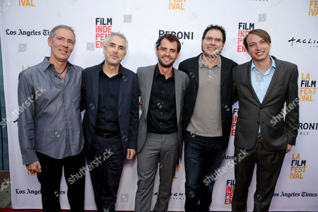 "Stock Picture of Producer Alex Garcia, Producer Alfonso Cuaron, Director/Writer/Producer Jonas Cuaron, Producer Carlos Cuaron and Executive Producer Nicolas Celis seen at STX Entertainment's Premiere of ""Desierto"" at 2016 LA Film Festival, in Culver City, Calif"