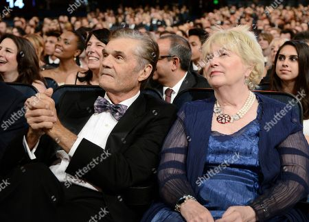 Fred Willard, left, and Mary Willard seen in the audience at the Television Academy's Creative Arts Emmy Awards at Microsoft Theater, in Los Angeles