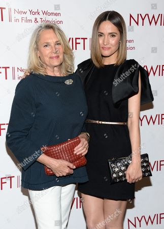 Actress Rose Byrne, right, and honoree, costume designer Renee Ehrlich Kalfus, attend the New York Women in Film & Television Honors gala at the McGraw-Hill Building on in New York