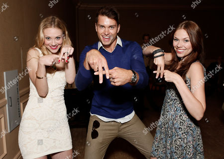 From left, Kelcie Stranahan, Pierson Fode and Noell Coet attend the YouTube Channels' AwesomenessTV and WIGS TCA Panel at the Beverly Hilton Hotel, in Beverly Hills, Calif
