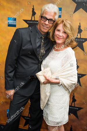 """Steve Bakunas and Linda Lavin attend the Broadway opening night of """"Hamilton"""" at the Richard Rodgers Theatre, in New York"""