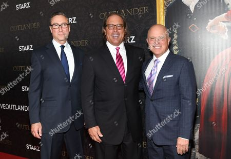 "Starz managing director Carmi Zlotnik, left, Sony Pictures Television chairman Steve Mosko, Starz CEO Chris Albrecht, Jeffrey Hirsch attends the ""Outlander"" Book Two World Premiere and After Party at the American Museum of Natural History, in New York"
