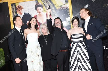 """Actor Tobias Menzies, actress Caitriona Balfe, costume designer Terry Dresbach, creator and executive producer Ronald D. Moore, executive producer Maril Davis and actor Sam Heughan attend the """"Outlander"""" Book Two World Premiere and After Party at the American Museum of Natural History, in New York"""