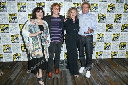 """From left, Angela Cartwright, Bill Mumy, Marta Kristen, and Mark Goddard attend the """"Lost in Space"""" press line on day 2 of Comic-Con International, in San Diego"""