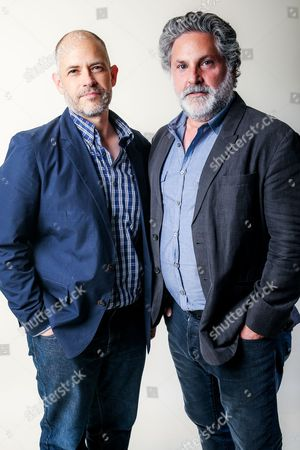 "Greg Jacobs, right, and Joe Gangemi, executive producers of the Amazon series ""Red Oaks,"" pose for a portrait during the 2016 Television Critics Association Summer Press Tour at the Beverly Hilton, in Beverly Hills, Calif"
