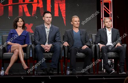 "Natalie Brown, from left, Kevin Durand, Richard Sammel and Miguel Gomez participate in ""The Strain"" panel during the FX Television Critics Association summer press tour, in Beverly Hills, Calif"