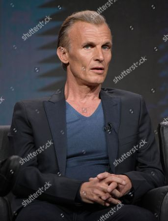 """Richard Sammel participates in """"The Strain"""" panel during the FX Television Critics Association summer press tour, in Beverly Hills, Calif"""