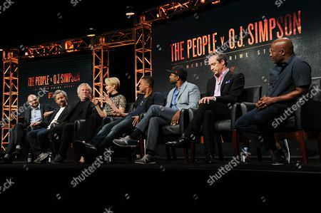 "Larry Karaszewski, from left, Sarah Paulson, Cuba Gooding Jr., Joe Robert Cole, D.V. DeVincentis and John Singleton participate in the ""The People v. O. J. Simpson: American Crime Story"" panel during the FX Television Critics Association summer press tour, in Beverly Hills, Calif"