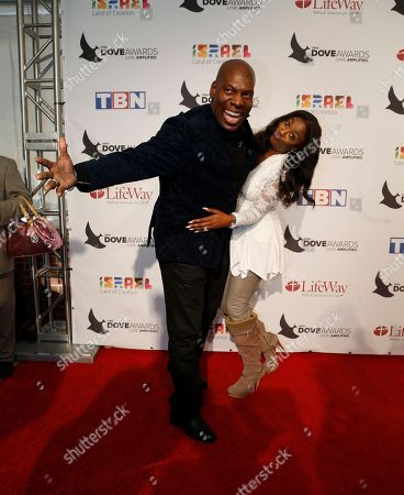 Stock Image of Ben Tankard and wife, Jewel, pose for a photo at the 47th Annual GMA Dove Awards at Lipscomb University's Allen Arena, Nashville, Tenn