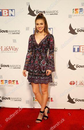 Sadie Robertson at the 47th Annual GMA Dove Awards at Lipscomb University's Allen Arena, Nashville, Tenn