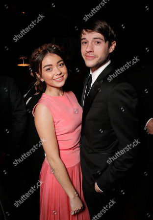 Stock Image of Sarah Hyland, left, and Matt Prokop attend the FOX after party for the 71st Annual Golden Globes award show on in Beverly Hills, Calif