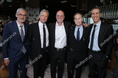 "Producer Igor Lopatonok, Producer Eric Kopeloff, Producer Moritz Borman, Tom Ortenberg, CEO of Open Road Films, and Executive Producer James D. Stern are seen at Audi and Nespresso co-host the official pre-party for Open Road Films' ""Snowden"" at 2016 Toronto International Film Festival, in Toronto"