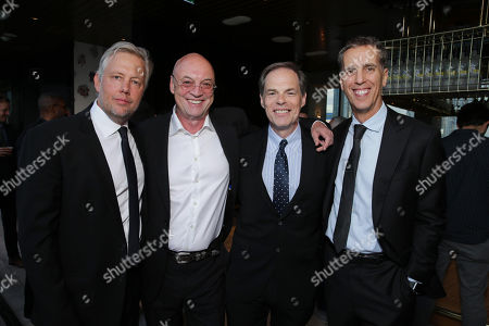 "Stock Picture of Producer Eric Kopeloff, Producer Moritz Borman, Tom Ortenberg, CEO of Open Road Films, and Executive Producer James D. Stern are seen at Audi and Nespresso co-host the official pre-party for Open Road Films' ""Snowden"" at 2016 Toronto International Film Festival, in Toronto"