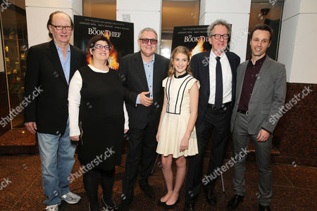 Producer Ken Blancato, Producer Karen Rosenfelt, Director Brian Percival, Sophie Nelisse, Geoffrey Rush and novelist Markus Zusak seen at Fox 2000 Pictures special screening of 'The Book Thief' held at the Simon Wisenthal Center's Museum of Tolerance, on Saturday, Nov, 2, 2013 in Los Angeles