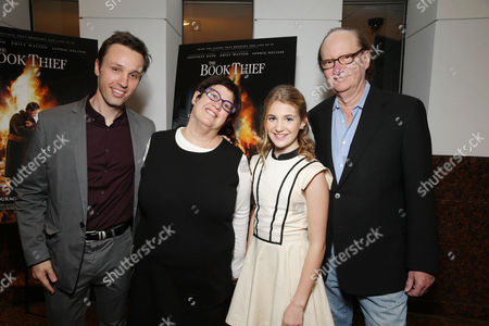 Novelist Markus Zusak, Producer Karen Rosenfelt, Sophie Nelisse and Producer Ken Blancato seen at Fox 2000 Pictures special screening of 'The Book Thief' held at the Simon Wisenthal Center's Museum of Tolerance, on Saturday, Nov, 2, 2013 in Los Angeles
