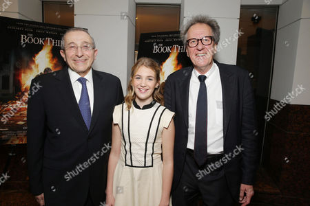 Dean and Founder of Simon Wisenthal Center Rabbi Marvin Hier, Sophie Nelisse and Geoffrey Rush seen at Fox 2000 Pictures special screening of 'The Book Thief' held at the Simon Wisenthal Center's Museum of Tolerance, on Saturday, Nov, 2, 2013 in Los Angeles
