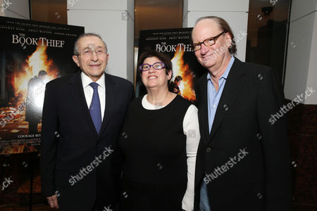 Dean and Founder of Simon Wisenthal Center Rabbi Marvin Hier, Producer Karen Rosenfelt and Producer Ken Blancato seen at Fox 2000 Pictures special screening of 'The Book Thief' held at the Simon Wisenthal Center's Museum of Tolerance, on Saturday, Nov, 2, 2013 in Los Angeles