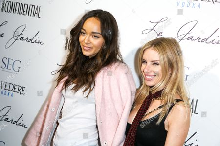 Ashley Madekwe, left, and Joey Tierney arrive at the Grand Opening Of Le Jardin, in Los Angeles