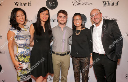 Stock Picture of L-R) Bo Kim, Ivy Innovator Award Winner Tiffany Pham, Daniel Radcliffe, Melody Lane and Beri Meric attend IvyConnect's 1st Annual Ivy Innovator Film Awards at The Landmark Theatre on in Los Angeles