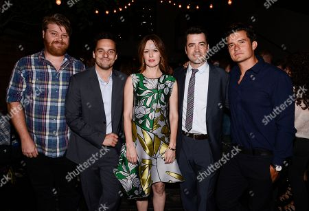 """From left to right, actor Steve Berg, actor Jake Johnson, actress Rosemarie DeWitt, actor Ron Livingston, and actor Orlando Bloom attend the after party for the Los Angeles premiere of the feature film """"Digging For Fire"""" in Los Angeles on"""